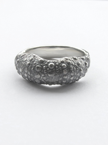 sea urchin shell ring silver front